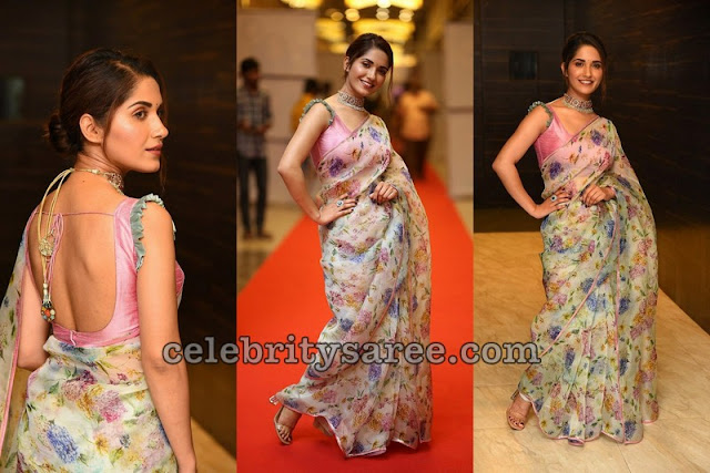 Ruhani Sharma Floral Saree