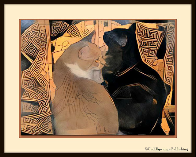 Real Cats in the window, with Greek vase filter from Dreamscope applied