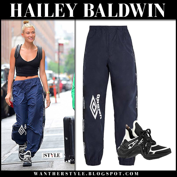 Hailey Baldwin in blue track pants vetements umbro and sneakers louis vuitton model street style july 6