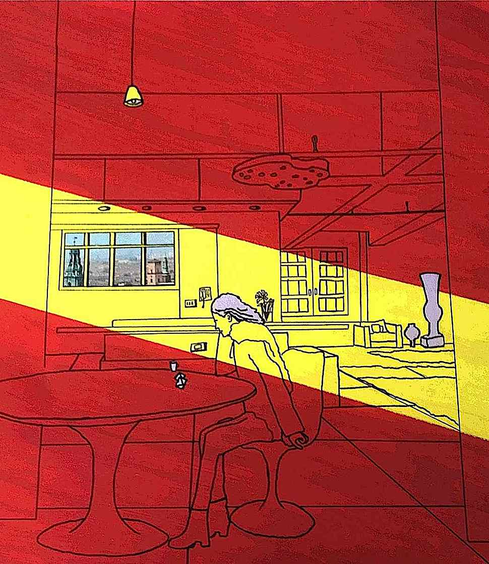 Patrick Caulfield art, a woman at a table in a stream of sunlight in red yellow and black