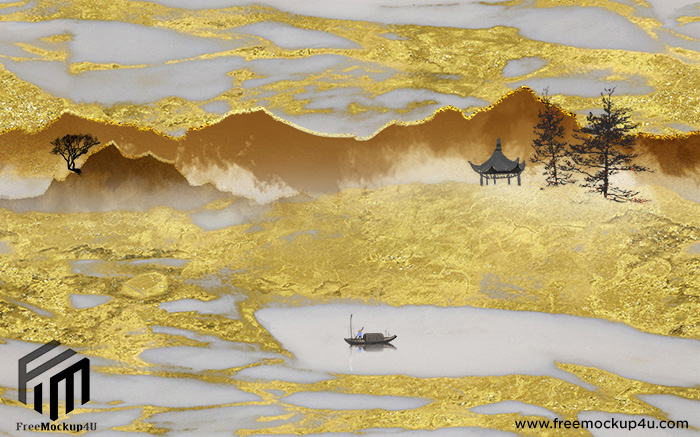Golden Chinese Marble Texture High And Custom Background Wall