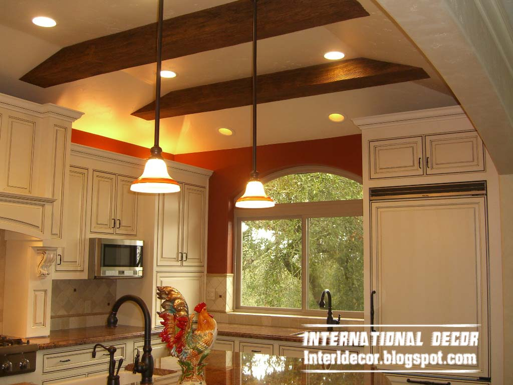 rustic faux ceiling design for clic kitchen