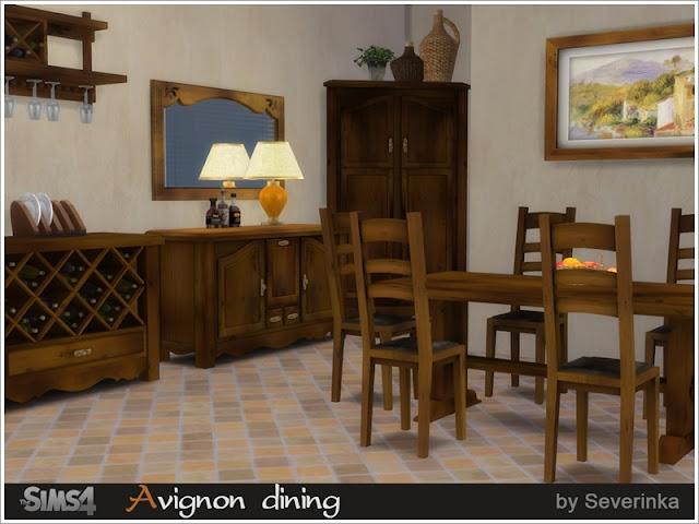 """Avignon dining Столовая """"Авиньон"""" для The Sims 4 Набор мебели и декора «Авиньон столовой» в рустикальном стиле. Мебель из натурального дерева с ярко выраженным рисунком и патиной. 3 варианта дерева - ольха, светлый орех и темный орех. В комплект входят 12 предметов: - угловой шкаф (функционирует как комод) - буфет (функционирует как комод) - Таблица - винный шкаф - винная полка - бокалы для винной полки - обеденный стол - обеденный стул с деревянным сиденьем - обеденный стул с мягким сиденьем - настенное зеркало - настольная лампа - картина Автор: Severinka"""