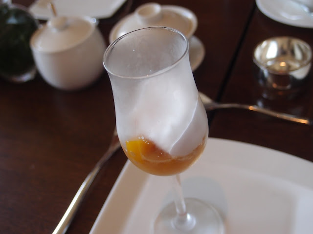 Mango Ice Jelly with Sago Pearls and Coconut Foam