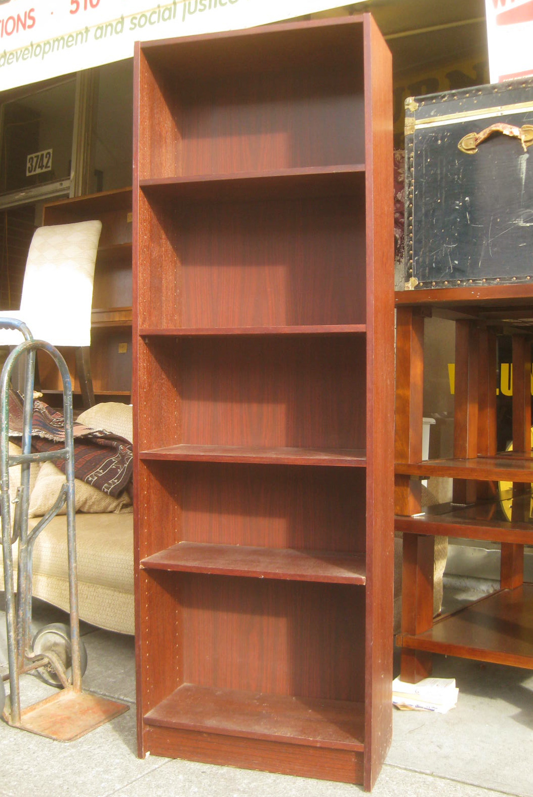Sold Tall Slender Reddish Brown Bookshelf 50