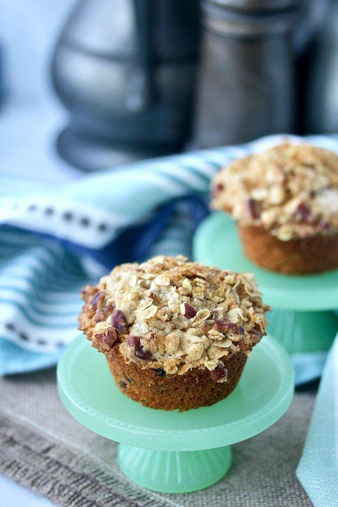 Small Batch Apple Nut Oatmeal Muffins #muffins