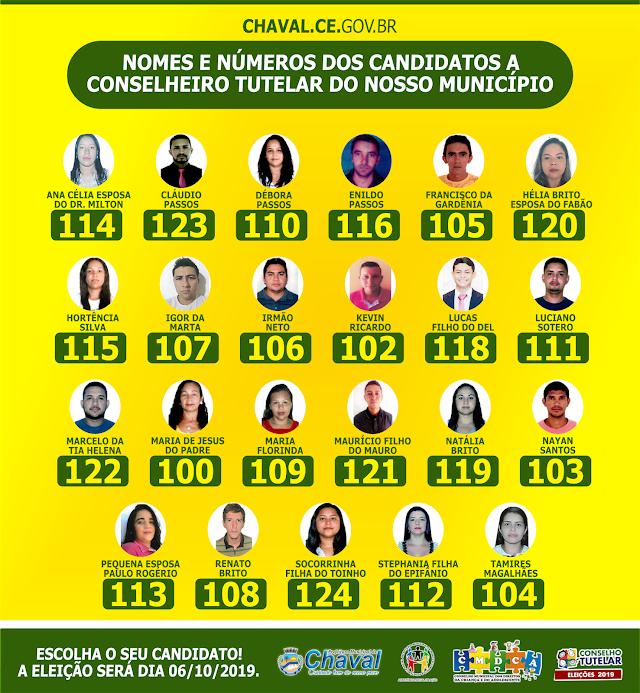 Eleições Conselho Tutelar 2019: confira os nomes e números dos candidatos em Chaval/CE
