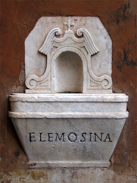 Alms box, church of the Most Holy Trinity of Pilgrims, Piazza della Trinità dei Pellegrini, Rome