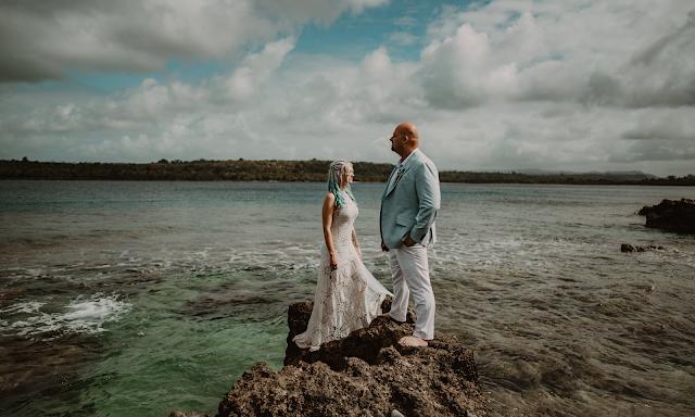 blue hair bride island wedding