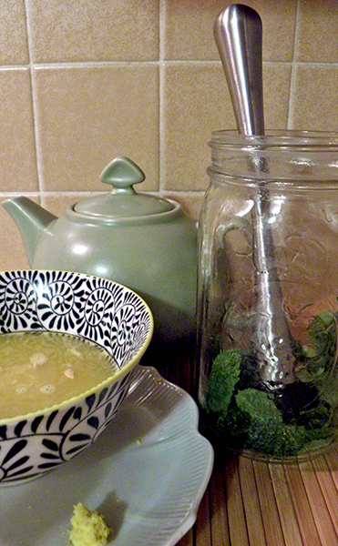 Teapot, Muddled Mint in Mason Jar, Squeezed citrus and grated ginger