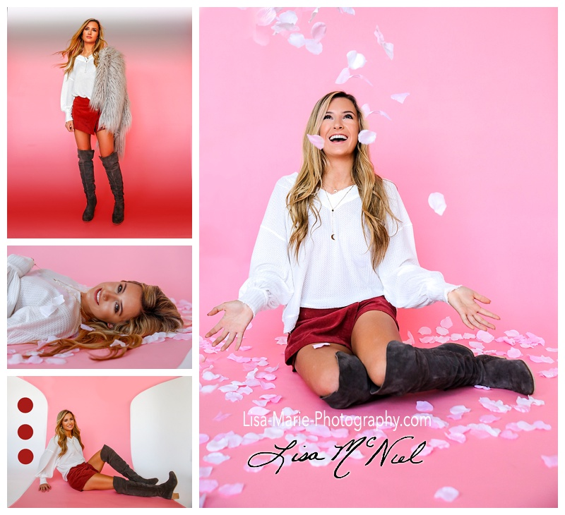 pretty blond teen with pink backdrop for Valentine's pictures