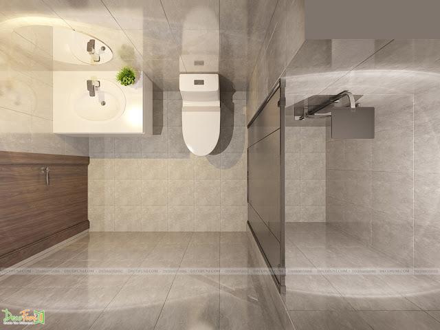Thiết kế và thi công từ xây dựng thô cho đến hoàn thiện nội thất căn hộ chung cư Saigon South Residences Phú Mỹ Hưng - SSR - Restroom phòng Khách