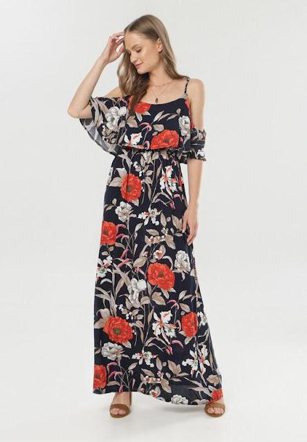 Granatowa Sukienka Lairena
