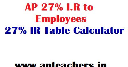 AP 27% I R to Employees 27% IR Table Online 27% IR Calculator IR GO