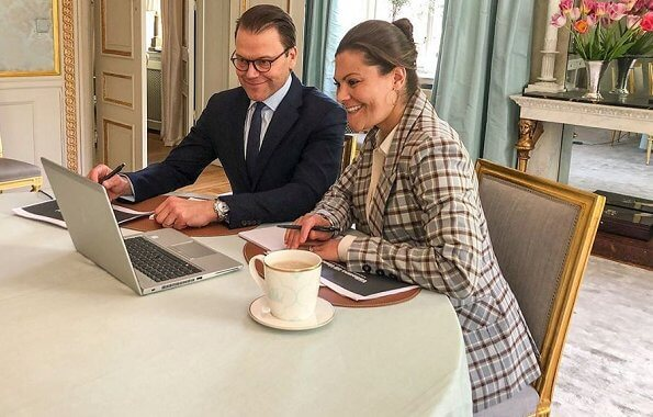 Crown Princess Victoria wore By Malina flora double breasted checked blazer