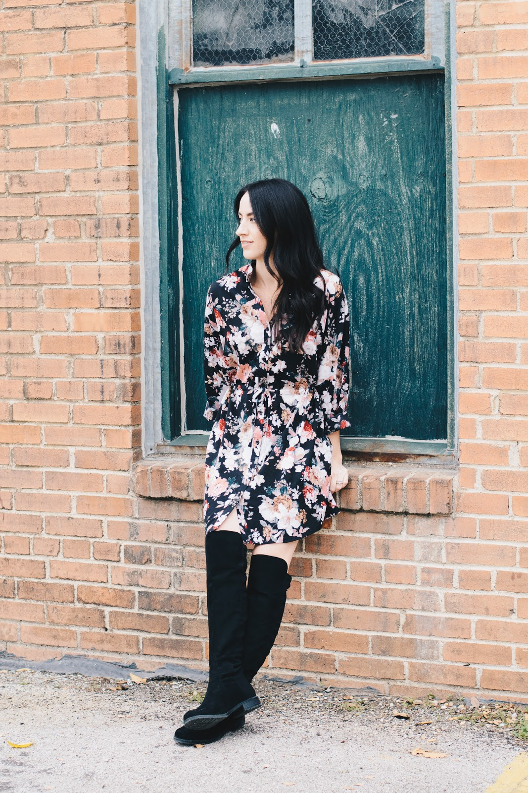 Sassy Fall Look with Boohoo Floral Dress