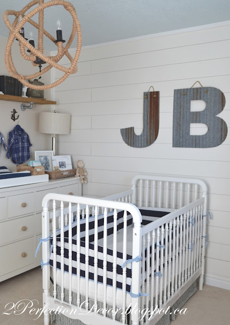 The Room Up By Adding ONE White Wood Plank Wall As A Feature It Really Lends To Coastal Vibe Of His Nursery See Details Below