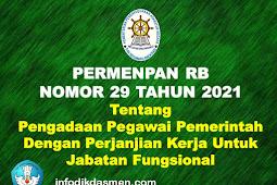 Permenpan RB Nomor 29 Tahun 2021 Tentang Pengadaan Pegawai Pemerintah Dengan Perjanjian Kerja untuk Jabatan Fungsional