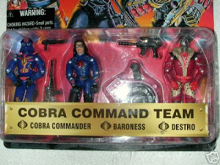 1997 Pimp Daddy Destro, Leopard Spots, unproduced, Unreleased, Cobra Command Team, Baroness, Cobra Commander, Toys R Us Exclusive, TRU, MOC, Carded