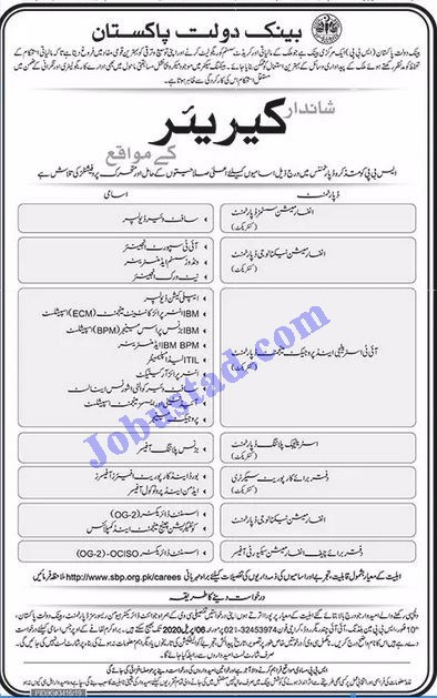 Jobs in State Bank of Pakistan  NBP Latest 2020