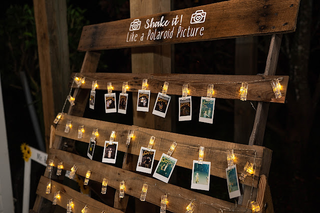 Pallet with polaroids Magnolia Manor Wedding Photos by Stuart Wedding Photographer Heather Houghton Photography