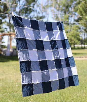 plaid rag quilt on a clothesline