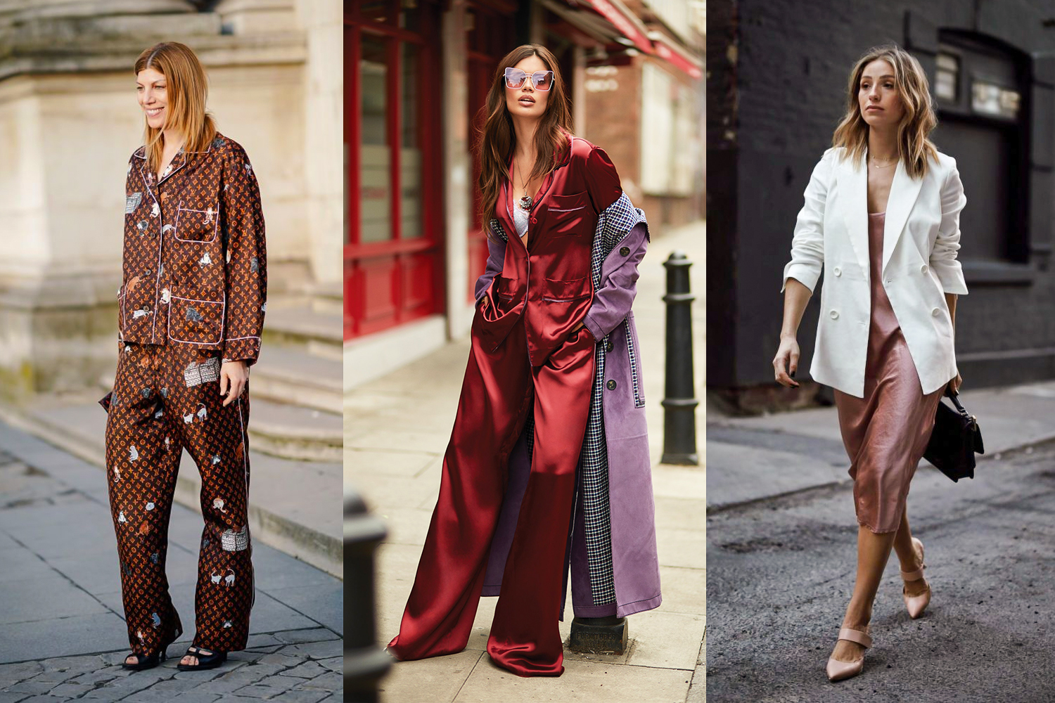 a triptych of three pajama style outfits as an outwear