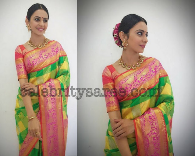 Rakul Preet Singh Stripes Saree