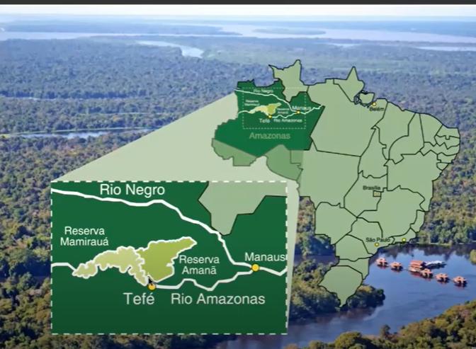 Mapa da localização da Pousada Uakari Lodge na Amazônia