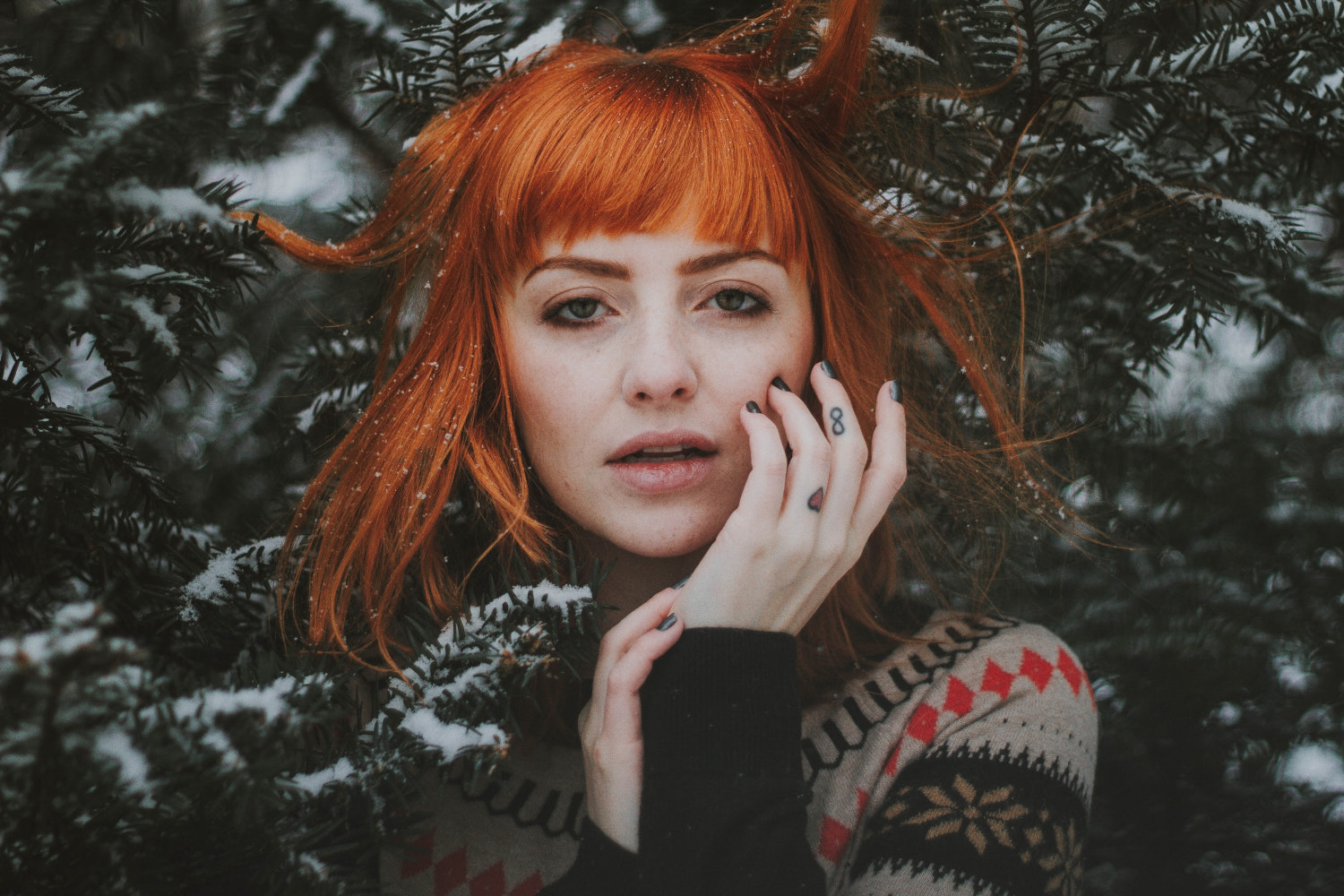 cute ginger girl with loose hair