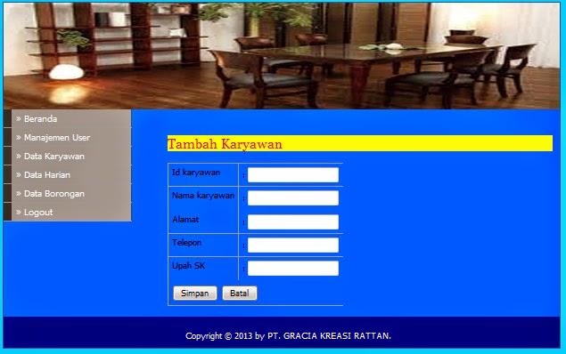 Download aplikasi sistem gaji karyawan berbasis web gratis.