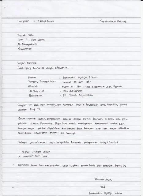 Contoh Surat Lamaran Kerja Di Konter Hp Tulis Tangan Dengan Baik Dan Benar Triprofik Com