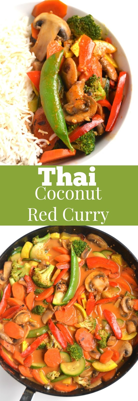 Thai Coconut Red Curry is healthier and tastier than your favorite takeout dish and is ready in just 15 minutes! Loaded with nutritious vegetables and served with brown rice. www.nutritionistreviews.com