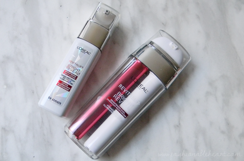 bbloggers, bbloggersca, canadian beauty bloggers, influenster, loreal, l'oreal, revitalift, bright reveal, skincare, day lotion, daily lotion, dual overnight moisturizer, peel pads, scrub cleanser, brightening, dry skin, sensitive