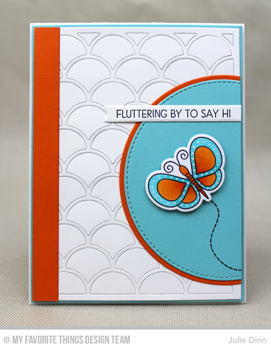 Fluttering By Card by Julie Dinn featuring the Lisa Johnson Designs Fly-By Friends stamp set and Die-namics, and the Dainty Scallop Cover-Up, Circle STAX Set 2, Stitched Circle STAX, Blueprints 2, Blueprints 18, and Blueprints 27 Die-namics #mftstamps