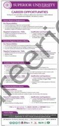 careers@superior.edu.pk - Superior University Jobs 2021 in Pakistan