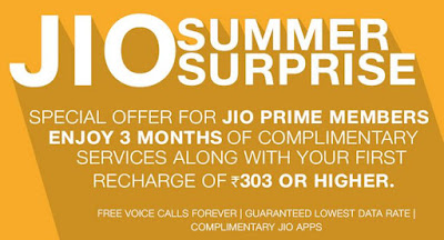 Jio Summer Surprise offer - Get 3 months free jio services