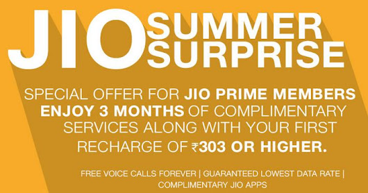Jio Summer Surprise – Recharge for Rs.303 to Get 3 Months Free Jio Services