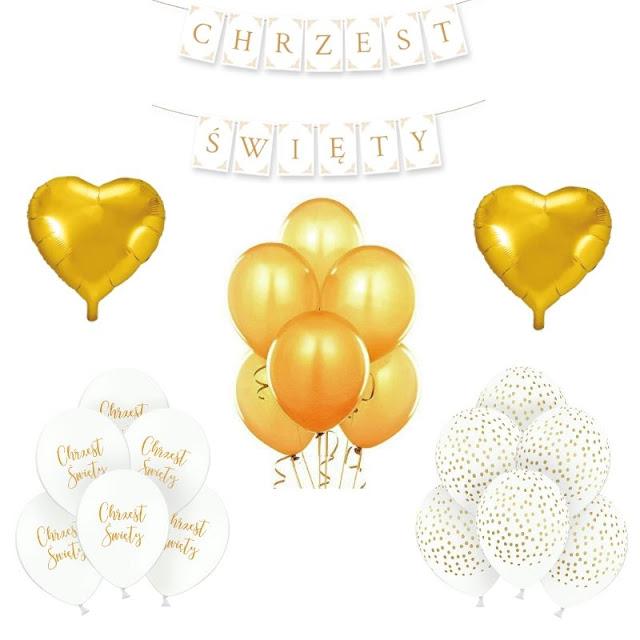 Zestaw dekoracji i balonów na Chrzest dziecka w złocie