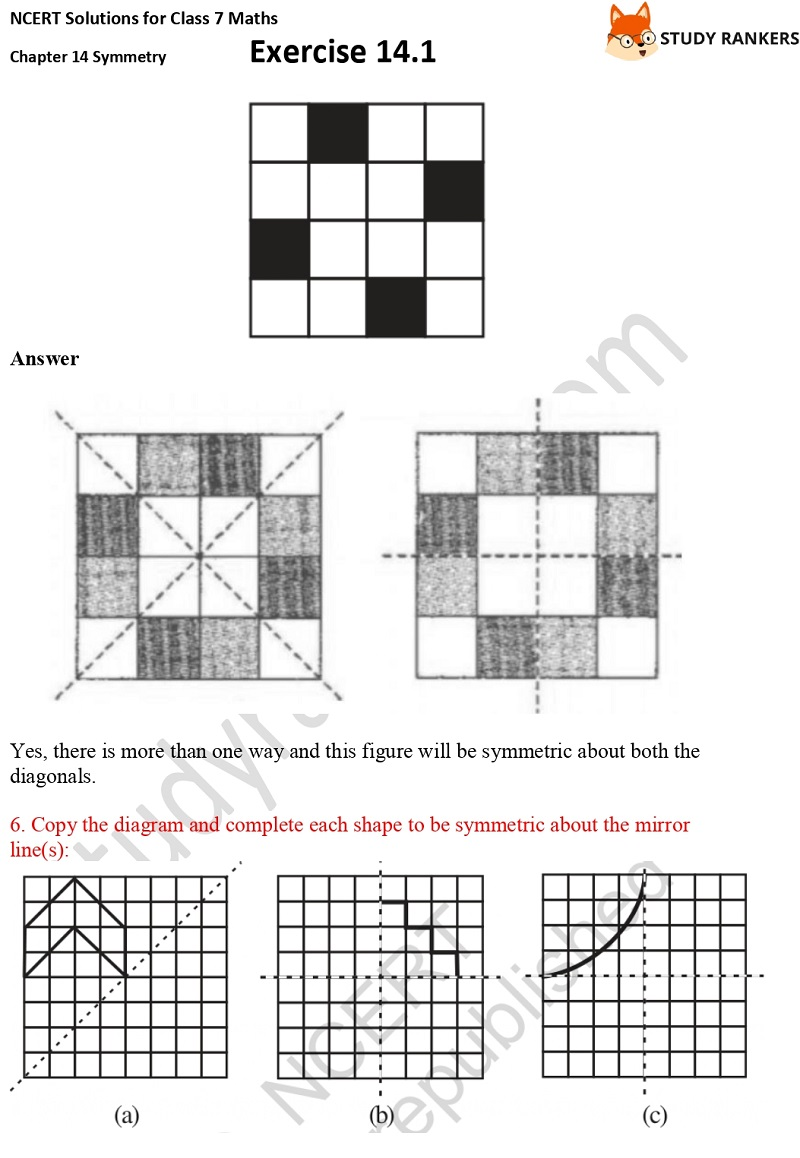 NCERT Solutions for Class 7 Maths Chapter 14 Symmetry Exercise 14.1 Part 6