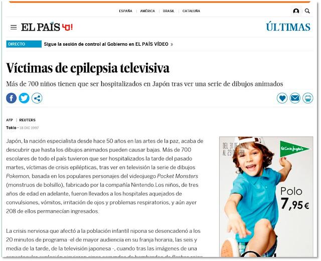 Pantallazo de la noticia 'Víctimas de epilepsia televisiva' en El Mundo