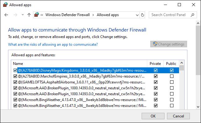 يسمح جدار حماية Windows Defender بقائمة التطبيقات.