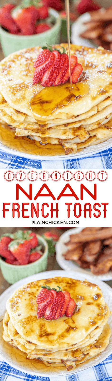 collage of two photos of naan bread french toast