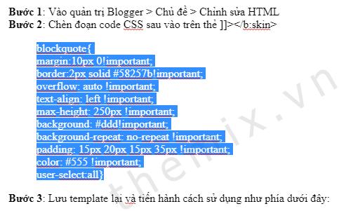 Cách làm khung chứa code đơn giản cho Blogger