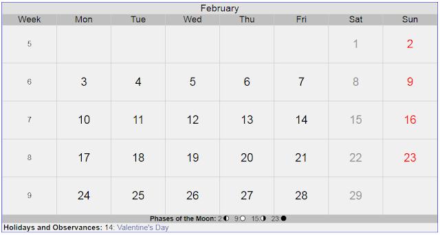 Calendar for February 2020 Sweden