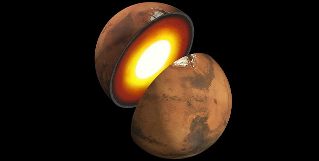 Artist's rendition showing the inner structure of Mars. The topmost layer is known as the crust, underneath it is the mantle, which rests on an inner core. Image Credit: NASA/JPL-Caltech