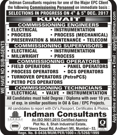Kuwait Electrical Instrumentation & Process Commissioning Jobs Interview | Indman Consultants