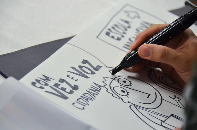 Desenho do cartunista Samuca em participação da edição em Caruaru-PE do projeto do MPPE