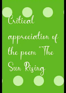 "critical appreciation of the poem ""The Sun Rising"