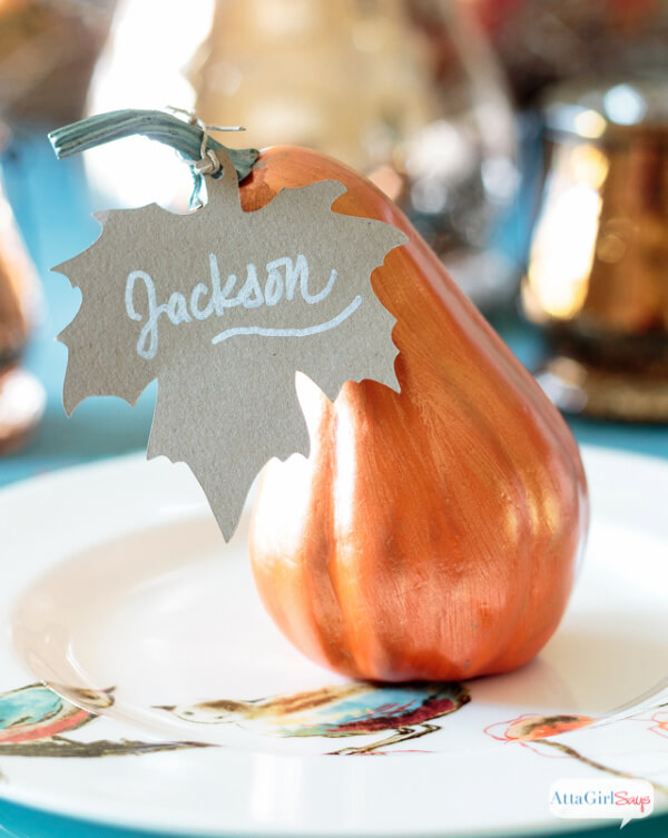 painted gourd and leaf place cards